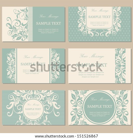 Set of six floral vintage business cards, invitations or announcements.