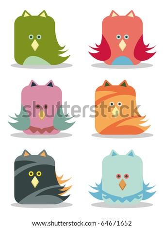 set of six funny birds