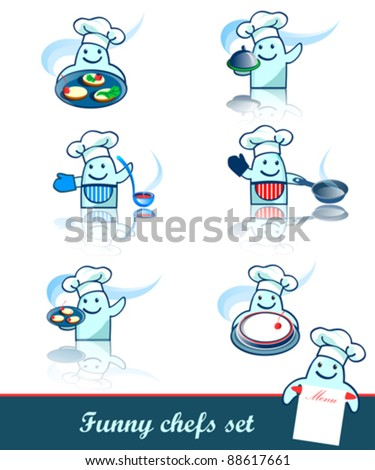 Set of six funny chef, cook characters.