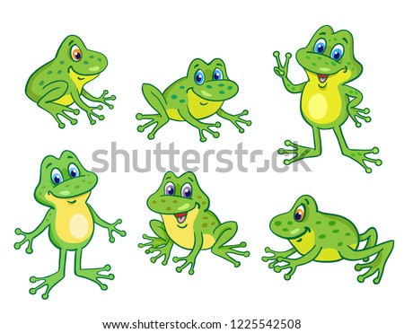 set of six funny little frogs