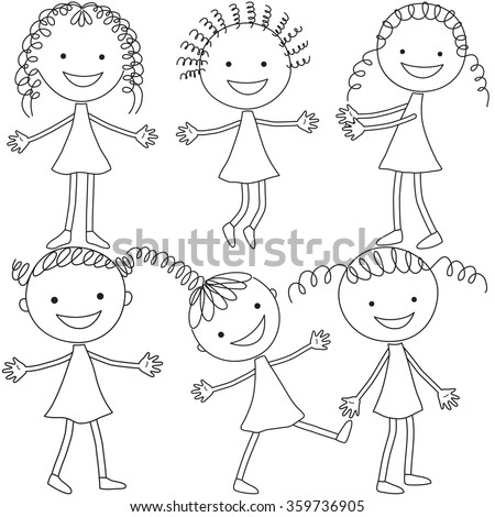 set of six girls in black and
