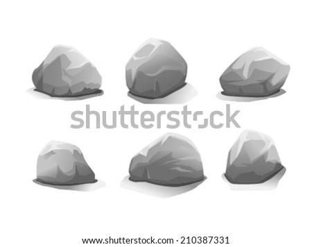 set of six grey stones  eps10