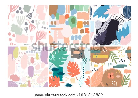 set of six hand drawn vector