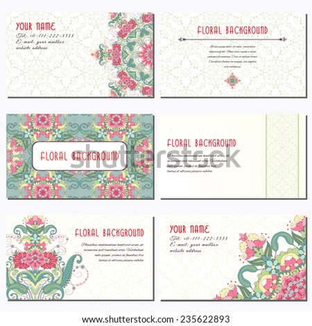 set of six horizontal business