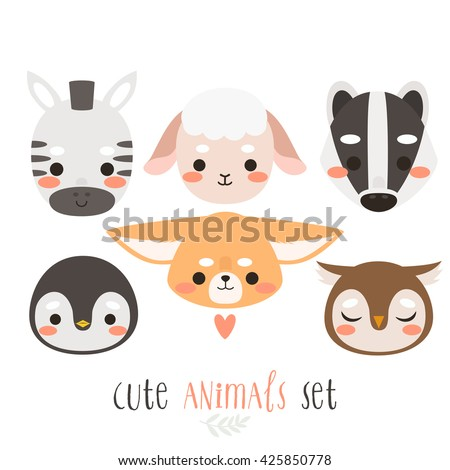 Set of six illustration of cartoon animals on white background. illustration of zebra, sheep, badger, penguin, fennec fox and owl. Can be used like sticker or for birthday cards and party invitations