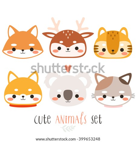 set of six illustration of cute