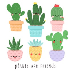 set of six illustrations of cute cartoon cactus and succulents with funny faces in pots and with plants are friends text message. can be used for cards, invitations or like sticker