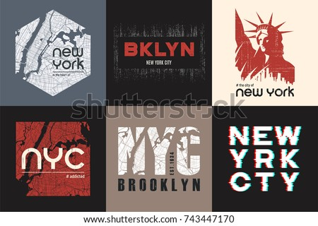 Set of six New York t-shirt and apparel designs. Vector print, typography, poster, emblem.