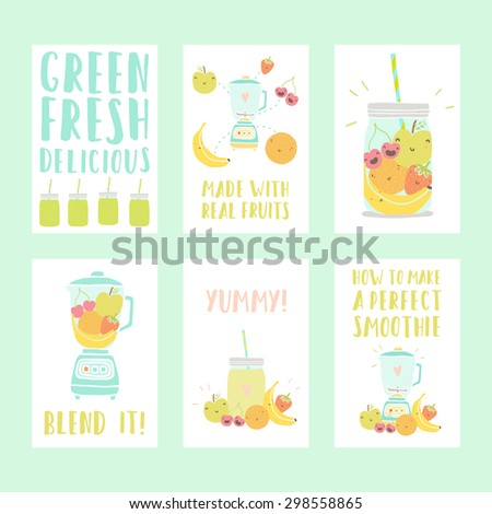 set of six nice smoothie cards