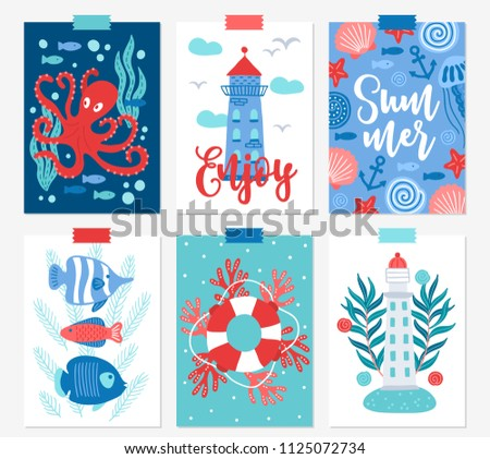 set of six ocean greeting cards