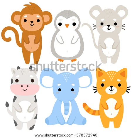 set of six of cute cartoon baby