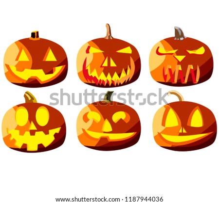 Set of six pumpkins for Halloween, objects isolated on white background, pumpkins with different expressions of faces