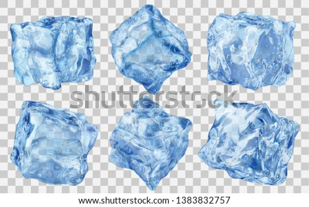 Set of six realistic translucent ice cubes in blue color isolated on transparent background. Transparency only in vector format