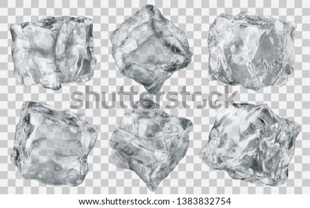 Set of six realistic translucent ice cubes in gray color isolated on transparent background. Transparency only in vector format