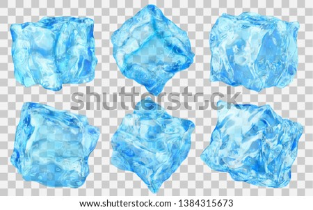 Set of six realistic translucent ice cubes in light blue color isolated on transparent background. Transparency only in vector format