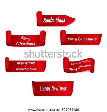 set of six red  merry christmas
