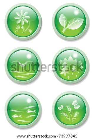 set of six reinforced natural buttons, eps10