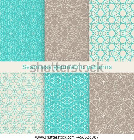 Set of six seamless geometric patterns.