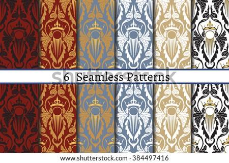 set of six  seamless pattern of
