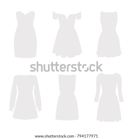 set of six silhouettes of