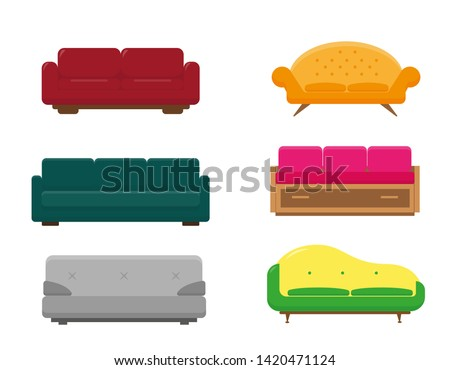 Set of six sofa models. Colorfull collection of sofas on white background.