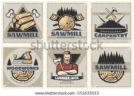 set of six square lumberjack
