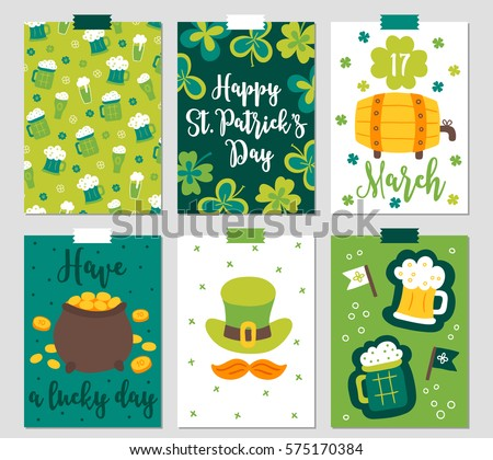 Set of six St. Patrick's Day cards with beer glasses, clover, barrel, pot of gold, hat, moustache and flags. Perfect for holiday greetings, prints, placards
