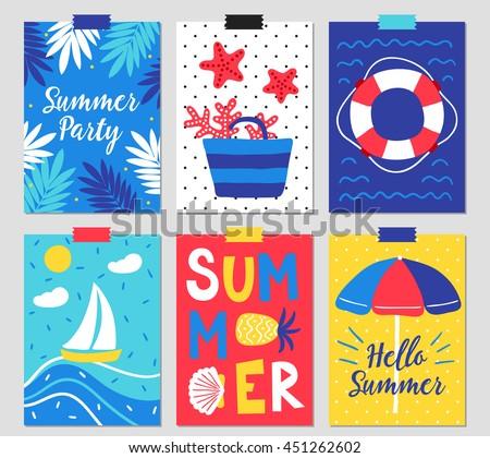 set of six summer greeting