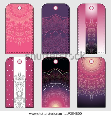 Set of six tags with abstract pattern. Dark pink and purple colors