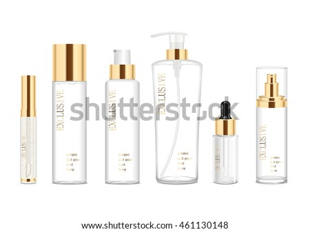 Set of six transparent cosmetic tubes. Vector