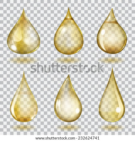 set of six transparent drops of