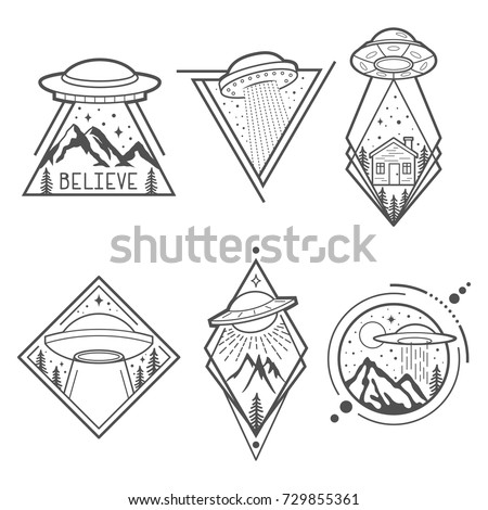 set of six ufo vector emblems