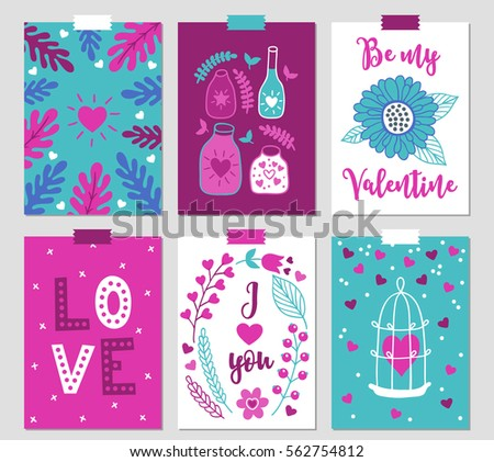 set of six valentine cards with