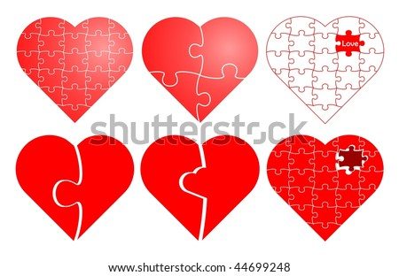 Set of six valentine puzzle heart