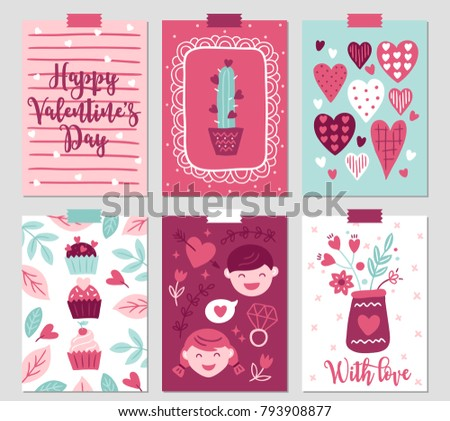 set of six valentine's day