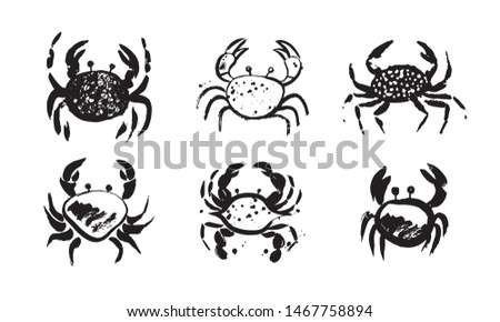 set of six vector crab hand