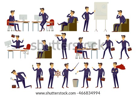 Set of six vector illustration of businessman wearing bright blue formal three piece business suit in different gestures isolated on grey background. art