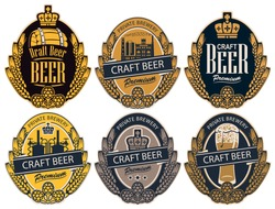 Set of six vector labels for craft beer of a private brewery in the form of a coat of arms in retro style. Label templates with wheat or barley ears, hops and crown in an oval frame