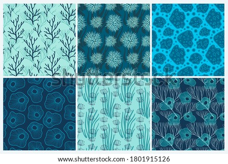 set of six vector seamless sea