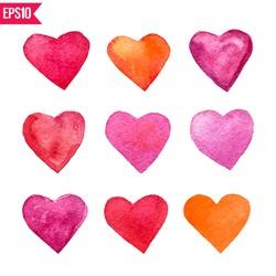 Set of six watercolor vector hearts