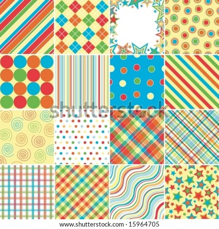 Set of sixteen background patterns in bright colors