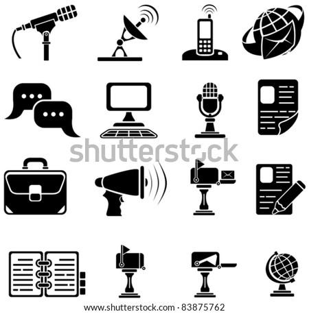 Set of sixteen black icons on white background, illustration