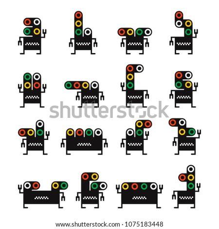 set of sixteen black monsters