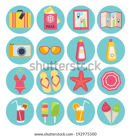 f90e0447e46d9 Set of sixteen different round summer vacation icons with a suitcase