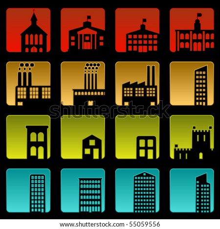 Set of sixteen simple beveled building icons