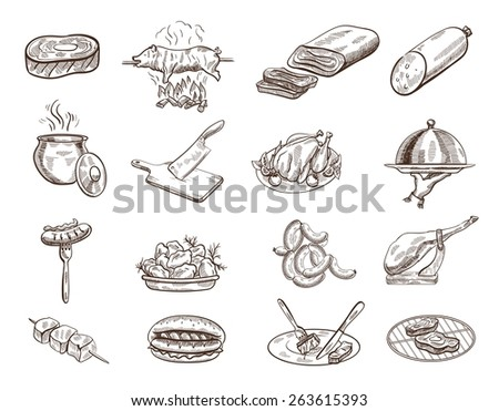 Set of sixteen sketches of food on the white background