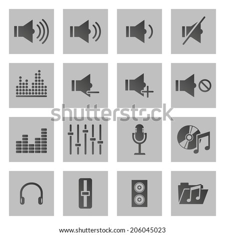 Set of sixteen sound and music icons isolated on gray