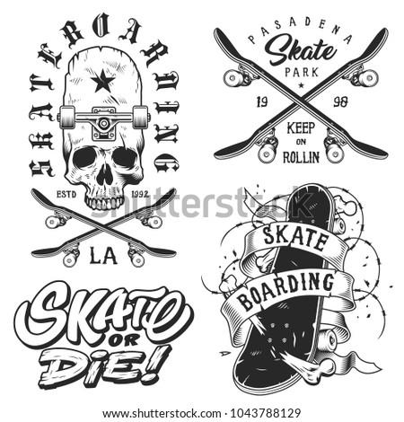 set of skateboarding emblems in