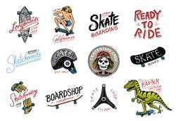 Set of Skateboarding labels logo. Skater Dinosaur tyrannosaur rex rides on the board.. Urban design for badges, emblems t-shirt typography. engraved hand drawn sketch in monochrome vintage style.
