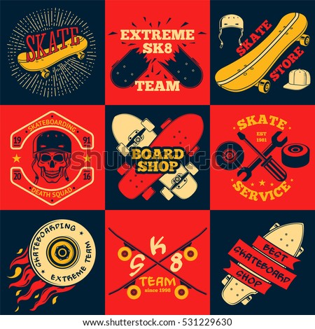 set of skateboarding labels